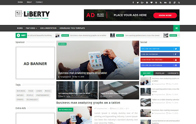 Liberty Responsive Magazine Personal Tutorial News Viral Trending Blog Blogger Template Theme