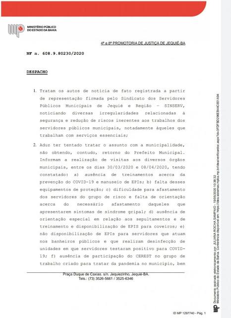 MPE acolhe denúncia do SINSERV e dá  72 horas para que a prefeitura de Jequié pague servidores