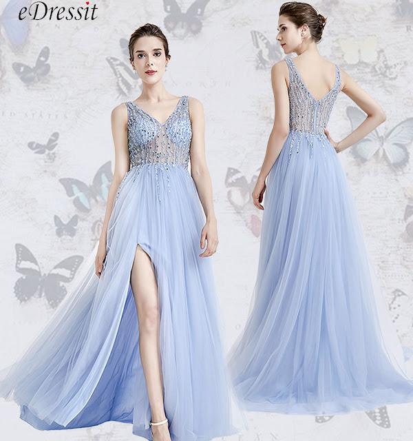 edressit bue slit evening dress