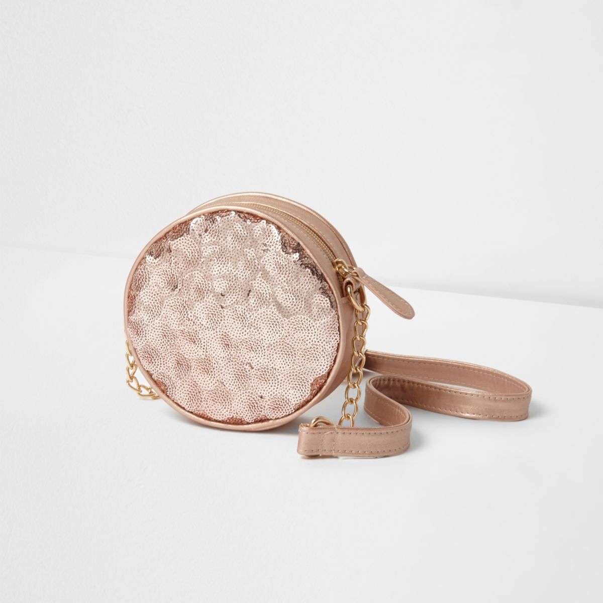 River Island Kids Girls Rose Gold Sequin Round Cross Body Bag