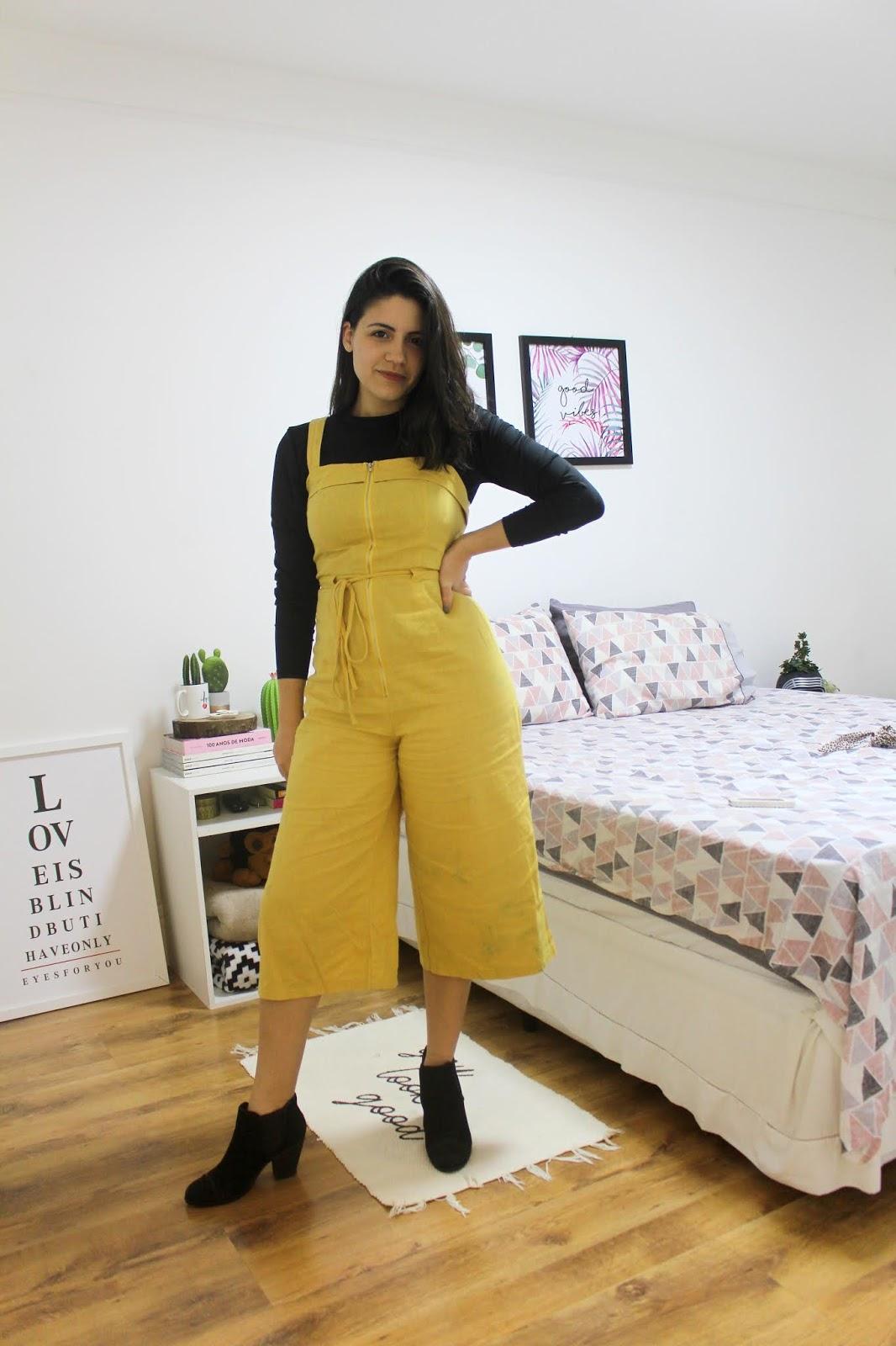 1peça3looks pantacourt macacão mostarda moda economica anadodia ana do dia