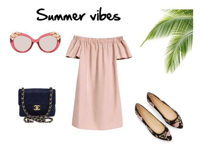 stylizacja na lato, sukienka z odkrytymi ramionami, summer vibes