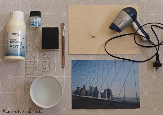 kerstin ich selbermachen fototransfer auf holz unser beitrag zur nycblogparade. Black Bedroom Furniture Sets. Home Design Ideas