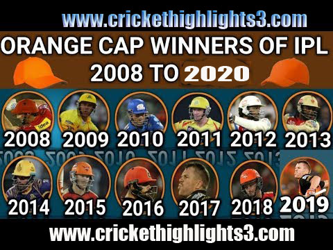 Orange Cap Winners in IPL all season from Ipl 2008 to 2020