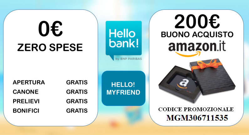 Con hello bank gratis un buono amazon di 200 euro apri for Codici regalo amazon gratis