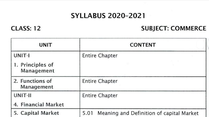 12th Commerce Reduced New Syllabus 2020-2021 | Download Pdf |