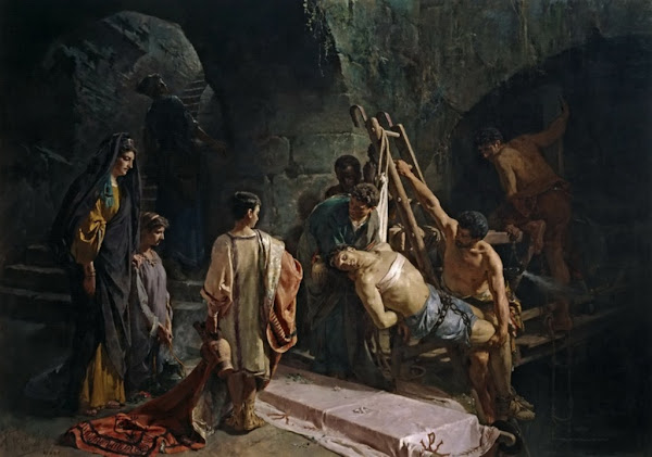 The Burial of San Sebastián, Alejandro Ferrant y Fischermans, Macabre Art, Macabre Paintings, Horror Paintings, Freak Art, Freak Paintings, Horror Picture, Terror Pictures