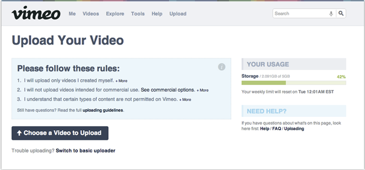 Choose a video to upload