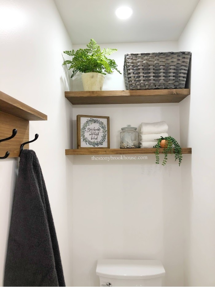 Easy Wall To Wall Floating Shelves Done