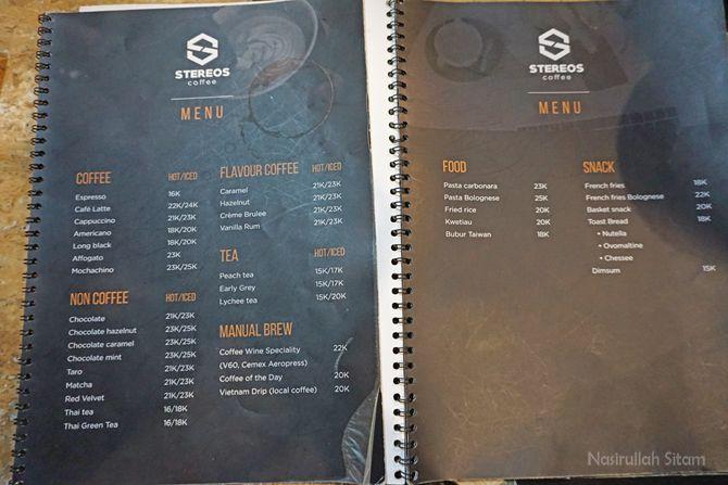 Daftar menu dan harga di Stereos Coffee Jogja