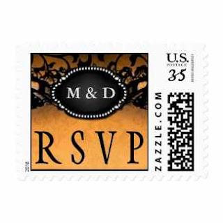 Orange Black Elegant Halloween Initials Wedding RSVP Postage