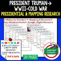 President Truman, American History Research Graphic Organizers, American History Map Activities, American History Digital Interactive Notebook, American History Presidential Research, American History Summer School