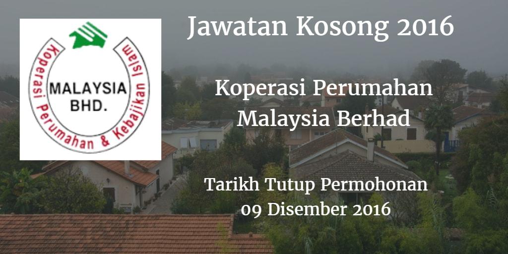 Jawatan Kosong Koperasi Perumahan Malaysia Berhad 09 Disember 2016