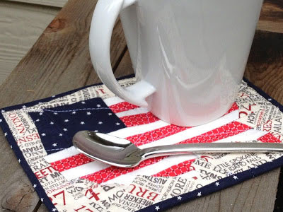 Flag Map Mug Rug pattern