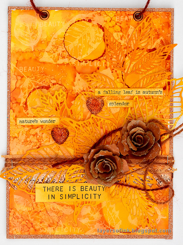 Layers of ink - Alcohol Ink Lift Background Tutorial by Anna-Karin Evaldsson, orange monochrome fall wall-hanger
