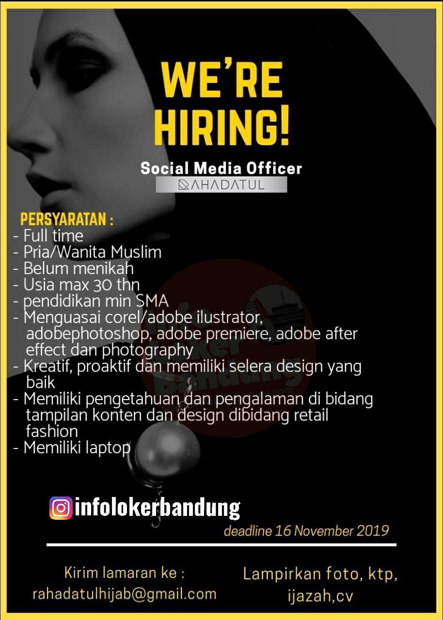 Lowongan Kerja Social Media Office Rahadatul Hijab Bandung November 2019