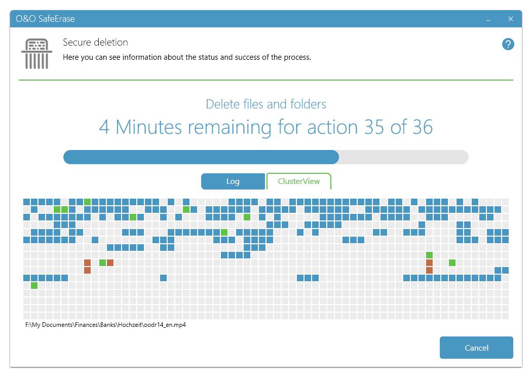O&O SafeErase Progress Screenshot