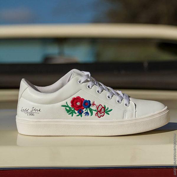 Sandalias 2018. Moda en calzado femenino primavera verano 2018. Zapatillas Lady Stork 2018.