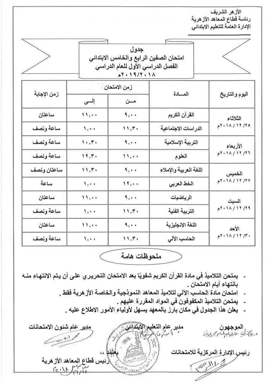 جدول إمتحانات الصف الخامس الإبتدائي الأزهري الترم الأول 2019