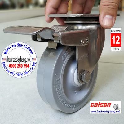Bánh xe cao su có khóa hãm càng inox 304 Colson | 2-4456-444-BRK4 www.banhxepu.net