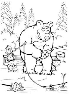 מאשה והדוב דפי צביעה לילדים