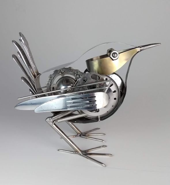 Ed Hill Metal Art wren sculpture