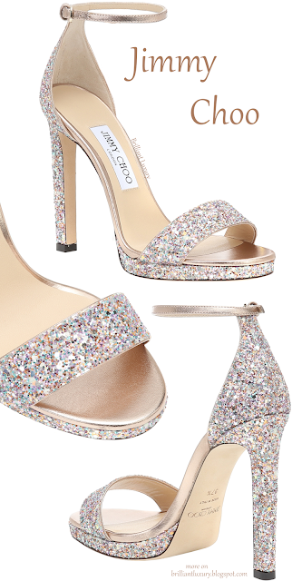 Jimmy Choo Misty colorful sparkling glitter ankle wrap pumps #brilliantluxury