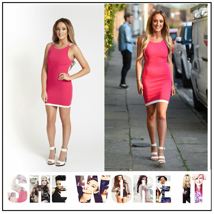 Bodycon, Bright, Charlotte Crosby, Colour Block, Contrast, Dress, Geordie Shore, Hem Detail, Hot Pink, Mini Dress, Nostalgia By Charlotte Crosby, Panel, Sleeveless, Strap Detail, White,