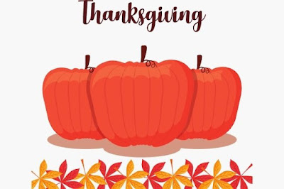 Thanksgiving text with pumpkin background image.