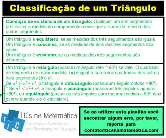 Trabalhe a classificação de triângulos usando Excel