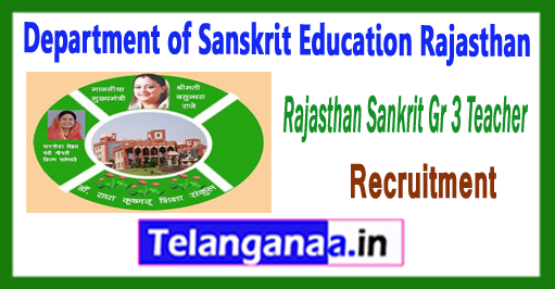 Rajasthan Teacher Gr 3 Department of Sanskrit Education Recruitment 2017 Apply Online