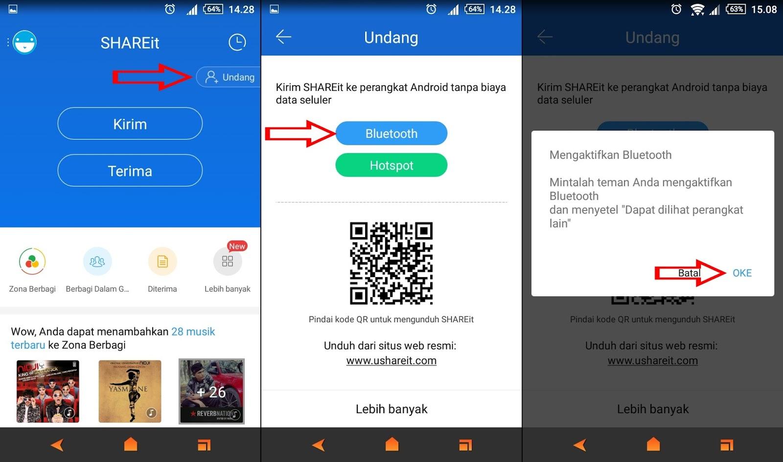 Cara Berbagi Aplikasi Shareit Melalui Bluetooth Menit Info