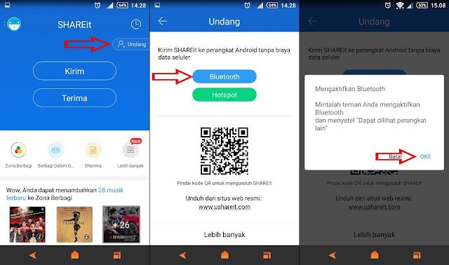 Berbagi Aplikasi SHAREit Melalui Bloetooth