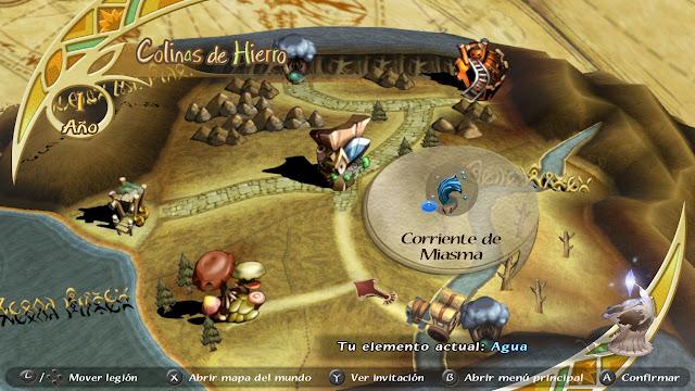 Mapa de las Colinas de Hierro en el año 1 Corriente de miasma Final Fantasy Crystal Chronicles
