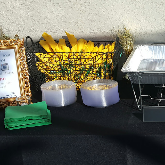 green and gold table decorations, eventsojudith, graduation party, serving setup, hashtag