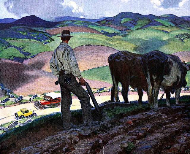 a Harold Von Schmidt illustration of a farmer pausing plowing