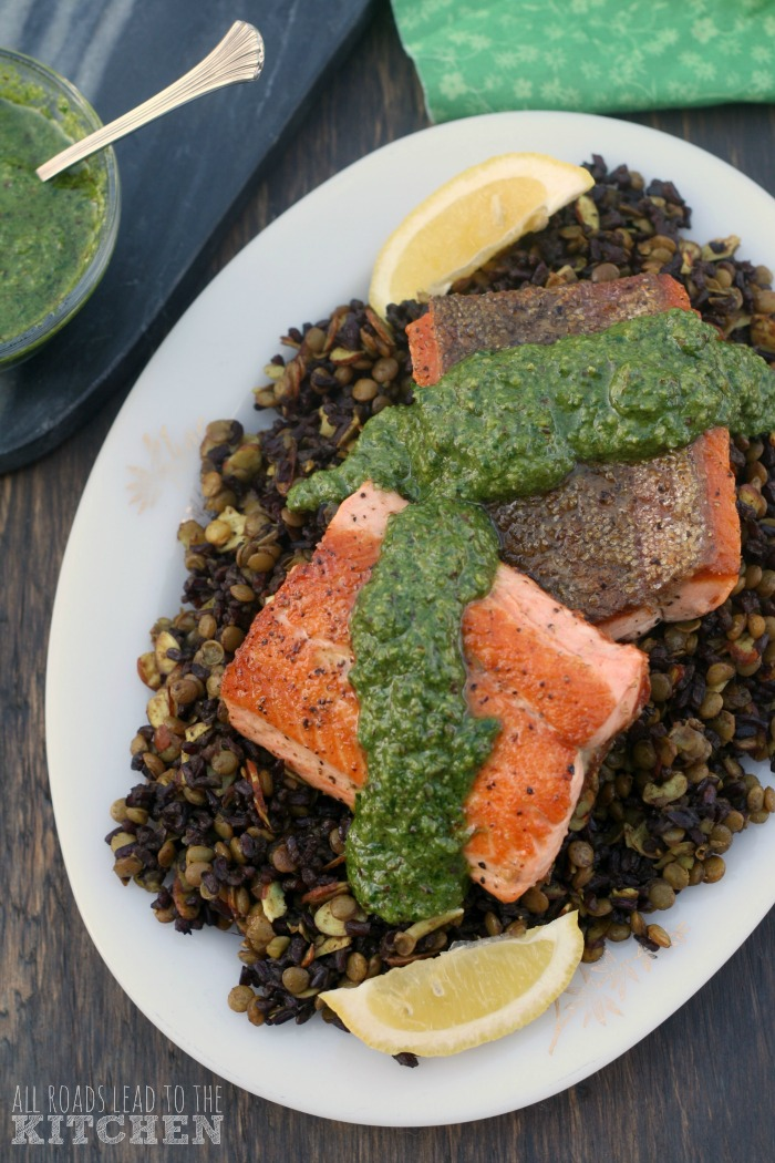 Pan-Seared Salmon w/ Mixed Greens Pesto & Lentil Black Rice Salad