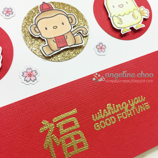 ScrappyScrappy: Lunar Animals & the Year of the Monkey #scrappyscrappy #mamaelephant #chinesenewyear #lunaranimals #card #stamp #glitter #lunar #fortunecat