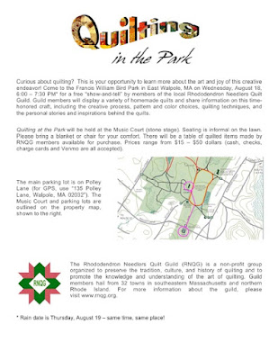 Quilting at the Park - August 18