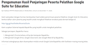 Pengumuman Hasil Penjaringan Peserta Pelatihan Google Suite for Education