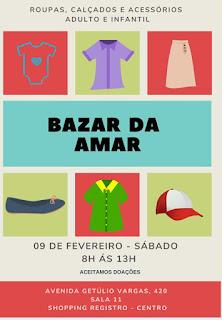 Bazar da AMAR nesse próximo sábado em Registro-SP