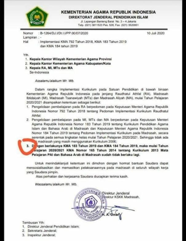 SK Menag : Kurikulum 2013 PAI dan Bahasa Arab di Madrasah Tidak Berlaku Lagi