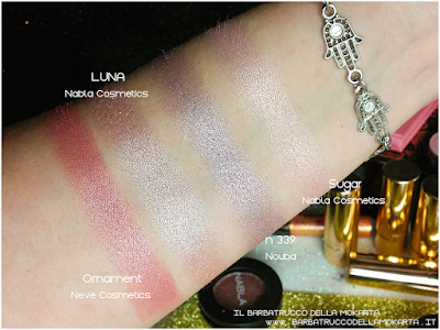 LUNA comparazioni eyeshadow ombretto  goldust collection Nabla cosmetics