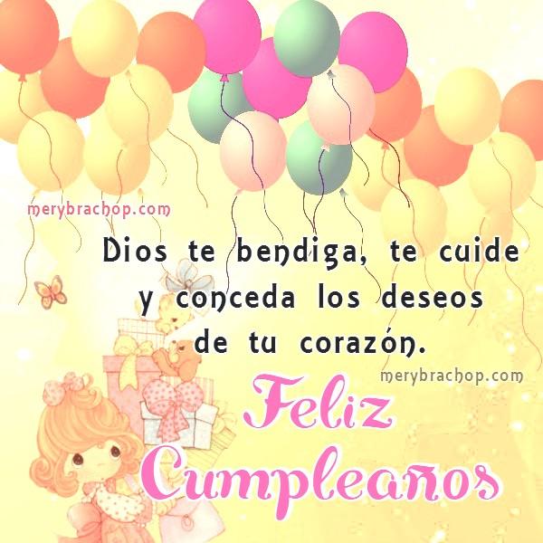 imagen de cumpleaños para hija con globo y niña con regalos, mensaje de feliz cumpleaños y bendiciones
