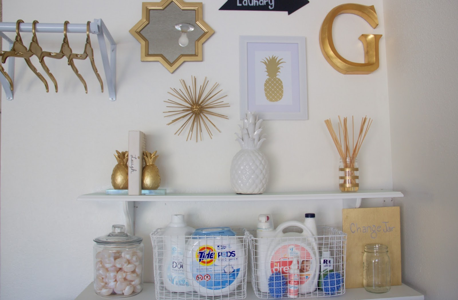 laundry room ideas, white and gold laundry room