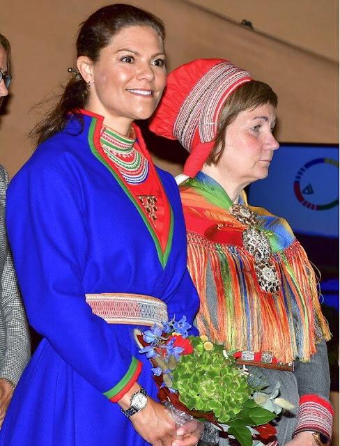 Princess Victoria wearing a replica of traditional Kola Peninsula Sami dress. Sami traditional clothing