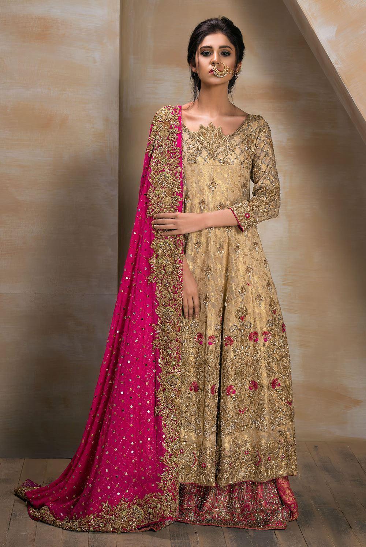 Gold Kalidar Bridal Dress with Heavy Embellished Dupatta