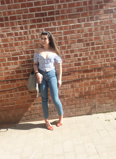 Topshop Orson Mom jeans, All Saints Kita bag, perspex heel sandals, bardot top