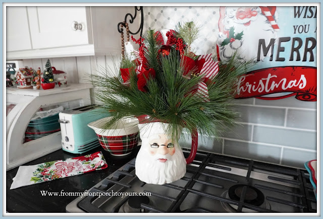 Cottage -Farmhouse- Christmas- Kitchen -Tour-Vintage-Inspired-Santa-Claus-Pitcher-Floral-Arranegement-DIY-From My Front Porch To Yours
