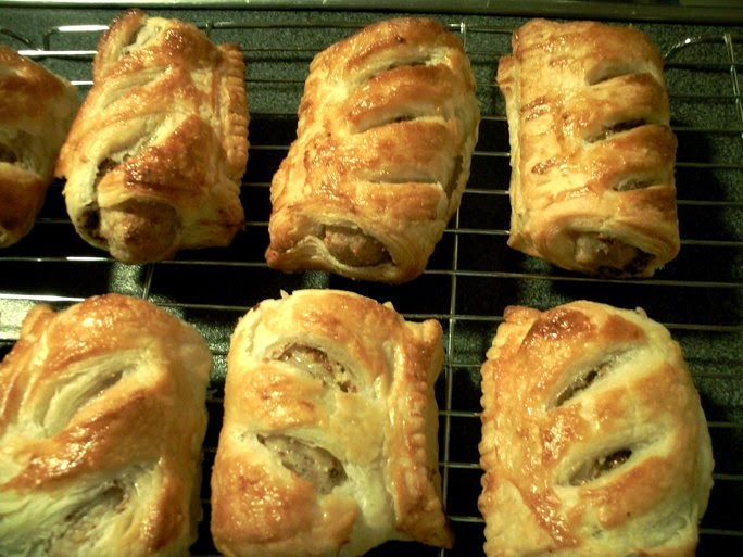 Sausage Rolls with Wholegrain Mustard on a tray